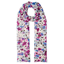 Buy John Lewis Small Watercolour Floral Print Scarf, Purple/Multi Online at johnlewis.com