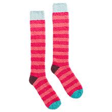 Buy Joules Fabfluffy Wide Stripe Knee High Socks, Pink Online at johnlewis.com
