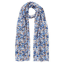 Buy John Lewis Splattered Floral Scarf, Taupe/Blue Online at johnlewis.com