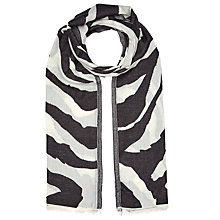 Buy John Lewis Zebra Zig Zag Scarf, Charcoal/White Online at johnlewis.com