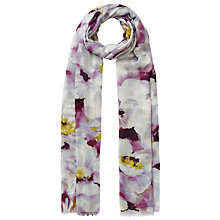 Buy John Lewis Large Watercolour Floral Print Scarf, Purple/White Online at johnlewis.com