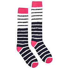 Buy Joules Fabfluffy Supersoft Fluffy Stripe Knee High Socks, Navy/Multi Online at johnlewis.com