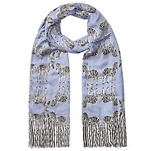 Buy John Lewis Bamboo Blend Stripey and Zebra Print Scarf, Blue/Multi Online at johnlewis.com