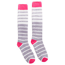 Buy Joules Fabfluffy Stripe Ankle Socks, Grey/Fuchsia Online at johnlewis.com