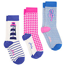 Buy Joules Brillbamset Zig Zag Ankle Socks, Pack of 3, Neon Pink/Violet Online at johnlewis.com