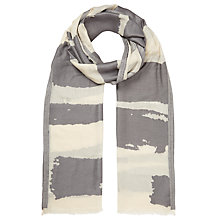 Buy John Lewis Burnt Out Stripe Scarf, Grey/Cream Online at johnlewis.com