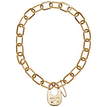 Buy Michael Kors Padlock Statement Necklace, Gold Online at johnlewis.com