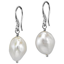Buy Dower & Hall Sterling Silver White Baroque Pearl Drop Earrings, Silver Online at johnlewis.com
