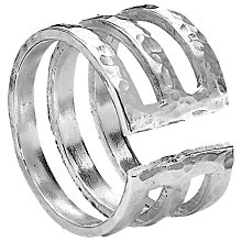 Buy Dower & Hall Sterling Silver 12mm Triple Band Ring, Silver Online at johnlewis.com