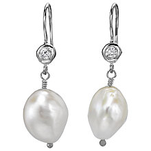Buy Dower & Hall White Baroque Pearl & White Topaz Earrings, Silver Online at johnlewis.com