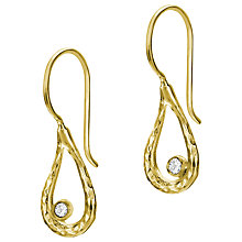 Buy Dower & Hall 18ct Gold Vermeil Open Teardrop Drop Earrings, White Topaz Online at johnlewis.com