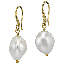 Buy Dower & Hall 18ct Gold Vermeil White Baroque Pearl Drop Earrings, Gold Online at johnlewis.com