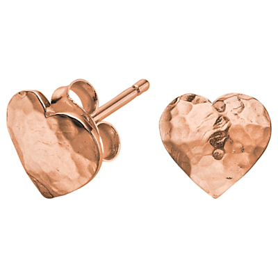 Dower & Hall Hammered Flat Heart Earrings