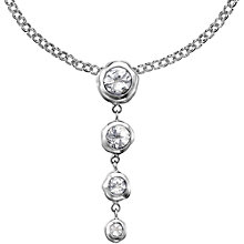 Buy Dower & Hall Sterling Silver Graduated Topaz Teardrop Pendant Necklace, Silver Online at johnlewis.com