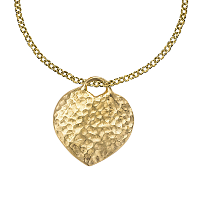 Dower & Hall 18ct Gold Vermeil Hammered Heart Pendant Necklace, Gold