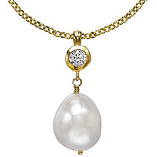 Buy Dower & Hall 18ct Gold Vermeil White Baroque Pearl Pendant, Gold Online at johnlewis.com