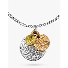 Buy Dower & Hall 18ct Sterling Silver & Gold Vermeil Hammered Triple Disc Nomad Pendant, Multi Online at johnlewis.com