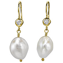 Buy Dower & Hall 18ct Gold Vermeil White Barque Pearl Drop Earrings, Gold Online at johnlewis.com