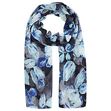 Buy Kaliko Shadow Leaf Print Scarf, Blue Online at johnlewis.com