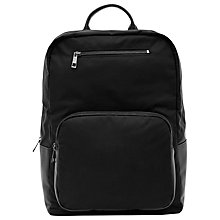 Buy Reiss Penn Leather Trim Backpack, Black Online at johnlewis.com