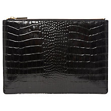 Buy Whistles Shiny Croc Clutch, Black Online at johnlewis.com