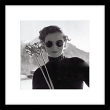 Buy Getty Images Woman Skiing Photograph, Black Frame, 49 x 49cm Online at johnlewis.com