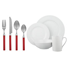 Buy John Lewis The Basics Off to University Kitchen and Dining Set, Red, £25 Online at johnlewis.com