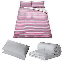 Buy John Lewis The Basics Off to University Bedroom Set, Double, Pink Online at johnlewis.com
