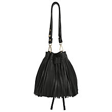 Buy Whistles Mini Sidney Drawstring Fringe Bag, Black Online at johnlewis.com