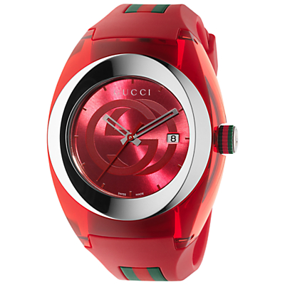 Gucci YA137103 Men's Sync Rubber Strap Watch, Red