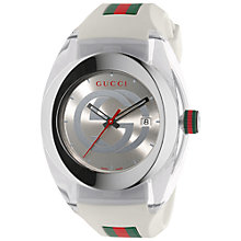 Buy Gucci YA137102 Men's Sync Rubber Strap Watch, White/Silver Online at johnlewis.com