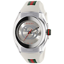 Buy Gucci YA137302 Men's Sync Rubber Strap Watch, White/Silver Online at johnlewis.com