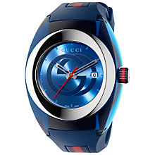 Buy Gucci YA137104 Unisex Sync Rubber Strap Watch, Blue Online at johnlewis.com