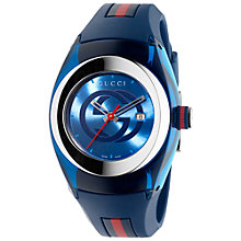 Buy Gucci YA137304 Unisex Sync Rubber Strap Watch, Blue Online at johnlewis.com
