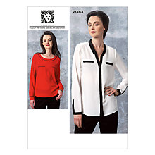 Buy Vogue Women's Anne Klein Shirt Sewing Pattern, 1463 Online at johnlewis.com