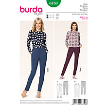 Buy Burda Women's Slim Trousers Sewing Pattern, 6750 Online at johnlewis.com