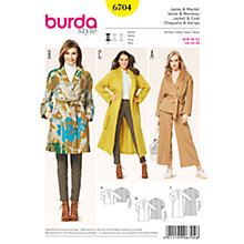 Buy Burda Women's Plus Size Coats And Jacket Sewing Pattern, 6704 Online at johnlewis.com