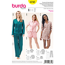 Buy Burda Women's Sleepwear Sewing Pattern, 6742 Online at johnlewis.com
