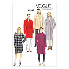 Buy Vogue Women's Basic Design Coat Sewing Pattern, 9137 Online at johnlewis.com