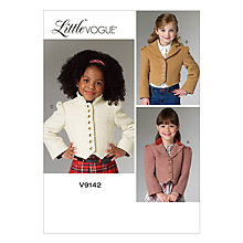 Buy Vogue Girls' Little Vogue Jacket Sewing Pattern, 9142 Online at johnlewis.com