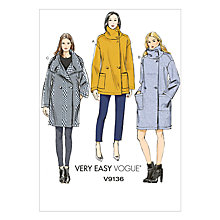 Buy Vogue Women's Very Easy Coat Sewing Pattern, 9136 Online at johnlewis.com