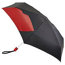 Buy Lulu Guinness Abstract Lip Folding Umbrella, Black/Red Online at johnlewis.com