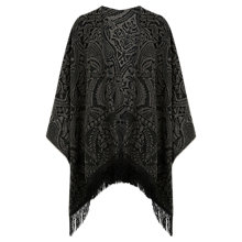 Buy Oasis Fringed Paisley Print Wrap, Mid Grey Online at johnlewis.com