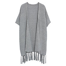 Buy Violeta by Mango Fringed Cotton Poncho, Grey Online at johnlewis.com