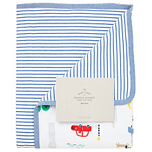 Buy John Lewis Baby City Transport Print Swaddle Blanket, Blue/Multi Online at johnlewis.com