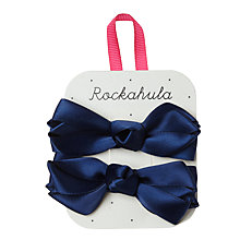 Buy Rockahula Satin Ruffle Bow Clips, Pack of 2, Navy Online at johnlewis.com