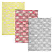 Buy House by John Lewis Woven Tea Towels, Set of 3, Yellow/Red/Grey Online at johnlewis.com