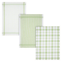 Buy John Lewis Green Check Tea Towels, Set of 3 Online at johnlewis.com