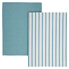 Buy John Lewis Teal Stripe Tea Towel, Set of 2 Online at johnlewis.com