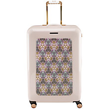 Buy Ted Baker Geo Print 4-Wheel 79.5cm Large Suitcase, Nude Pink With Print Online at johnlewis.com